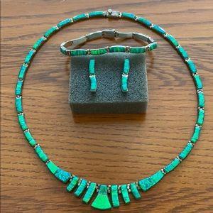 Jewelry - Blue & green stone necklace earring bracelet set